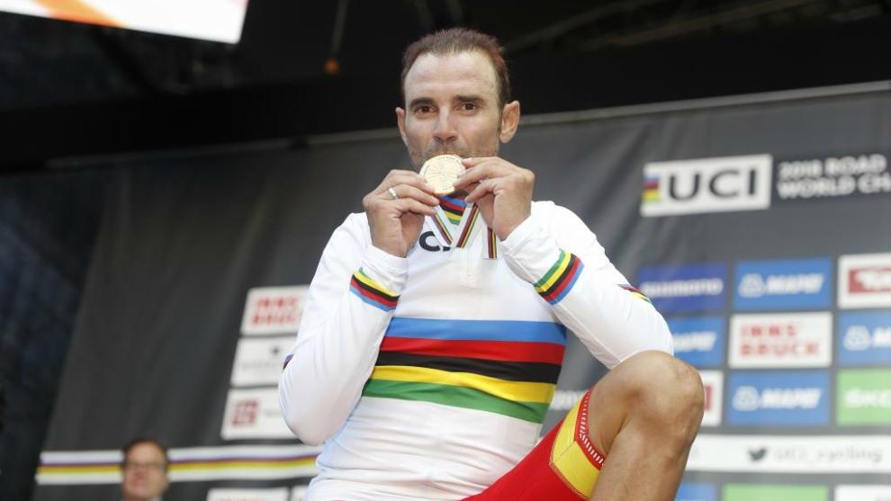 Alejandro Valverde, con el oro en Innsbruck.