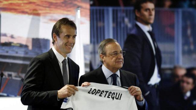 Lopetegui y Florentino, durante la presentación del técnico.