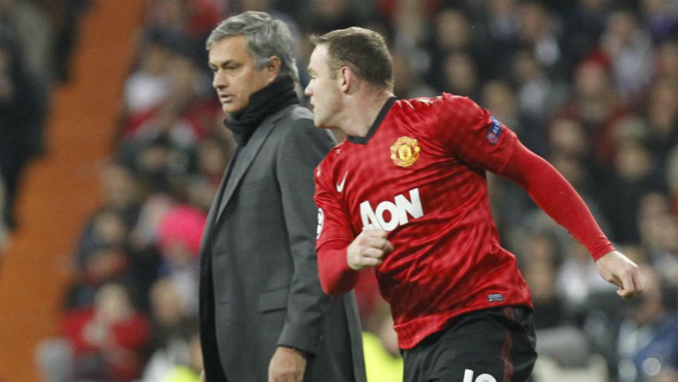 Jose Mourinho and Wayne Rooney.