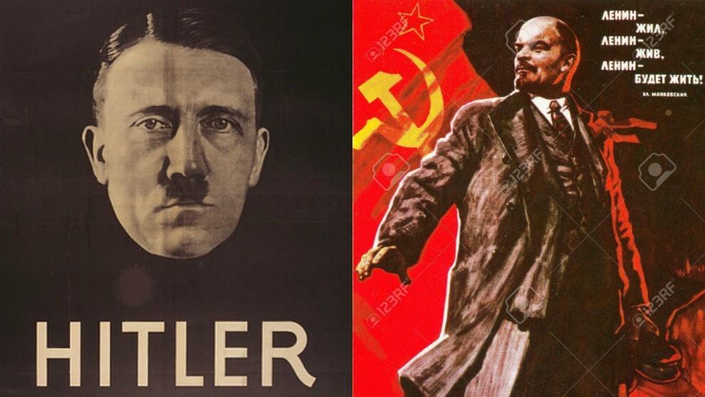 Cartel electoral de Adolf Hitler y de propaganda de Vladimir Illich...