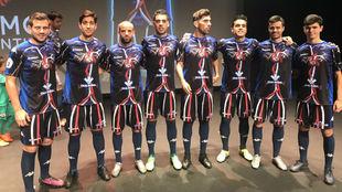 Varios jugadores del Zamora, en el acto de presentación de las nuevas...