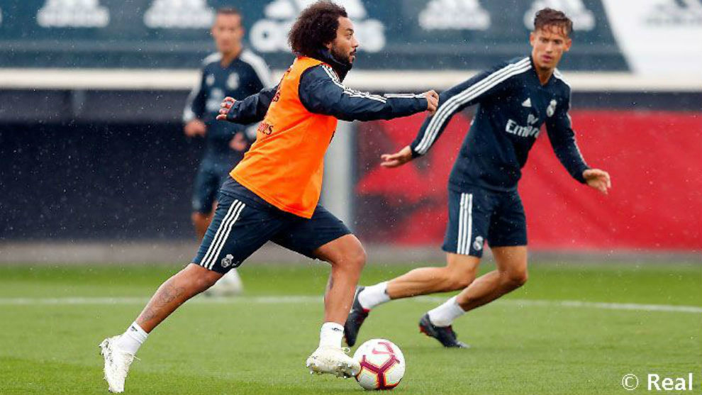 Marcelo, in Wednesday morning's training session at Valdebebas.