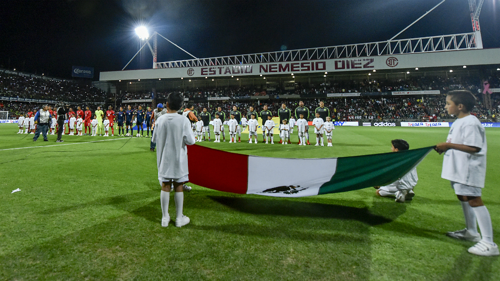 Ceremonia de protocolo previo al México vs Panamá de 2015.