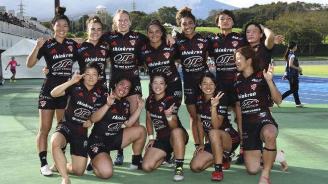 Patricia García junto a sus compañeras del Tokio Phoenix Rugby Club