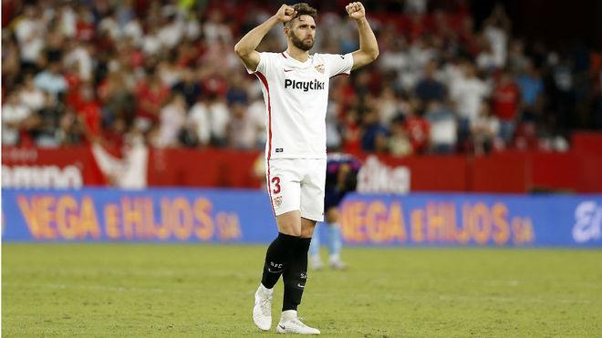Sergi Gómez celebra la victoria ante el Celta.