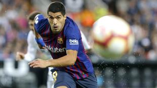 Suárez, en el Valencia-Barcelona del pasado domingo en Mestalla.