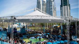Imagen aérea de la competición de 'break dance'