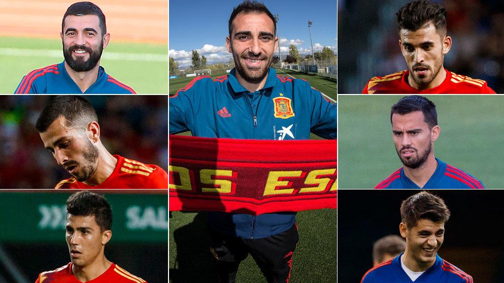 Albiol, Alcacer, Ceballos, Gaya, Suso, Rodri and Morata.