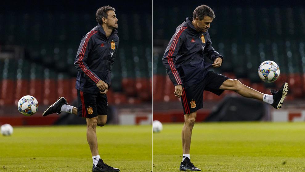 Luis Enrique, en el entrenamiento de Cardiff