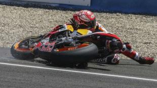 Marc Márquez, al caerse en Jerez.