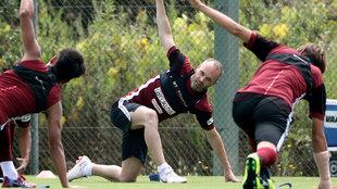 Andrés Iniesta en un entrenamiento con el Vissel Kobe.