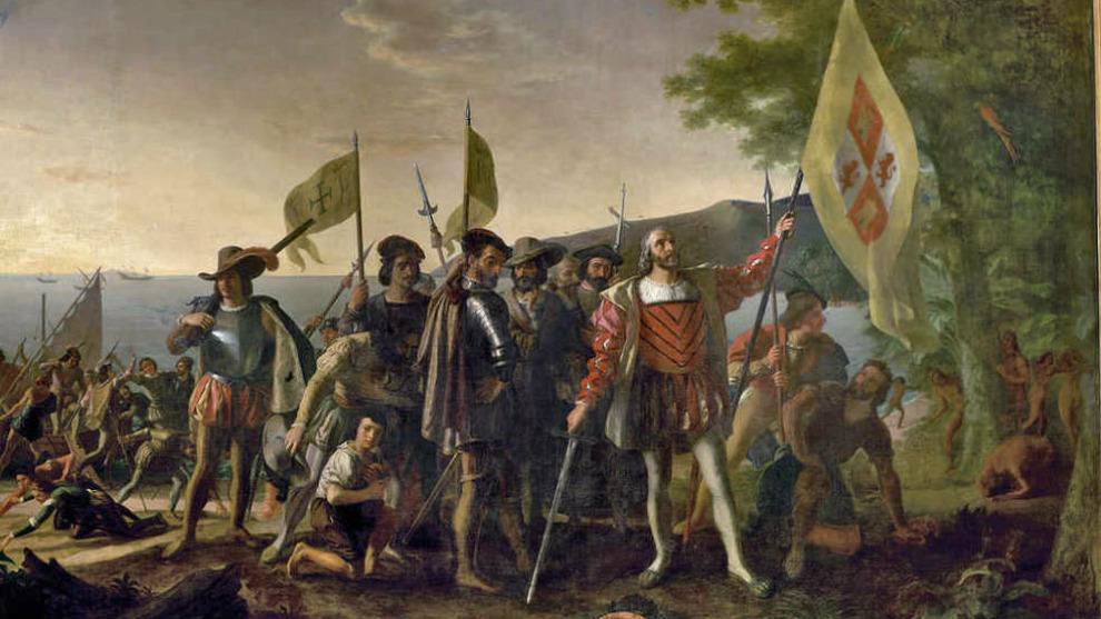Cuadro del siglo XIX que representa la llegada de Cristóbal Colón al...