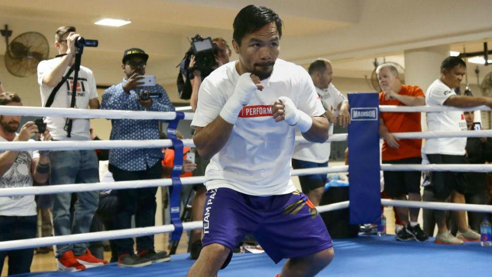 Manny Pacquiao durante un entrenamiento en Filipinas.