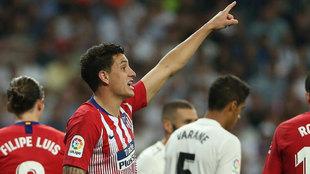 José María Giménez, durante el Real Madrid-Atlético de Madrid.