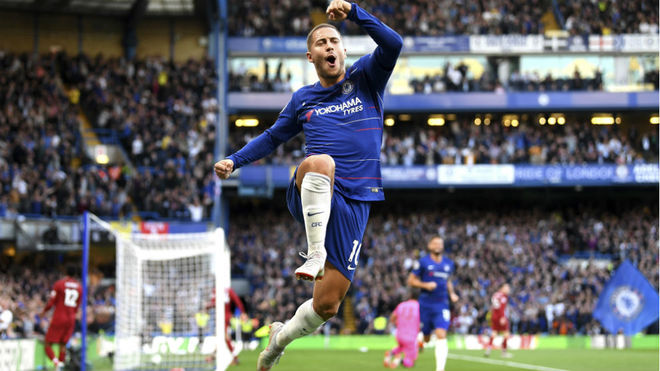 Hazard, celebrating a goal for Chelsea.