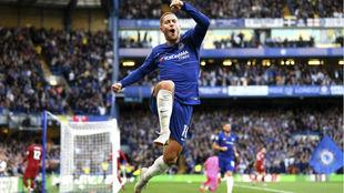 Hazard, celebrando un gol con el Chelsea.