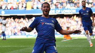 Eden Hazard celebra un gol del Chelsea esta temporada.