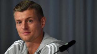 Toni Kroos, durante la rueda de prensa previa al Países...
