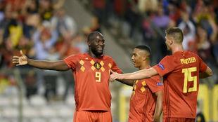 Lukaku celebra su primer gol.