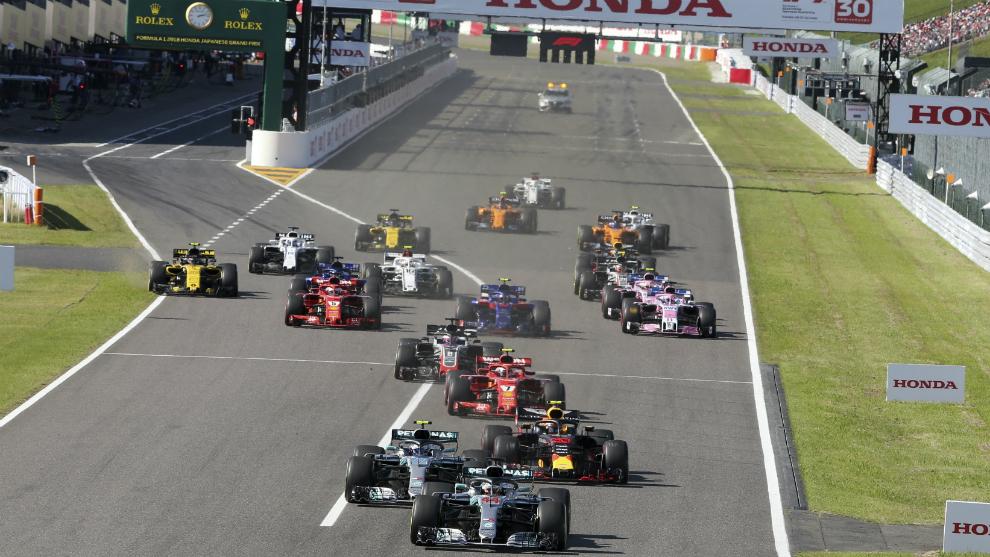 Pilotos tras la salida del pasado Gran Premio de Japón