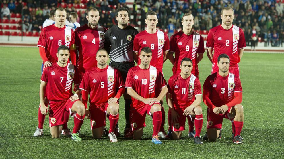 La selección de Gibraltar en una foto de archivo