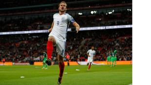 Harry Kane celebra uno de sus 19 goles con Inglaterra.