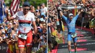 Javier Gómez Noya y  Patrick Lange en el transcurso del Ironman de...