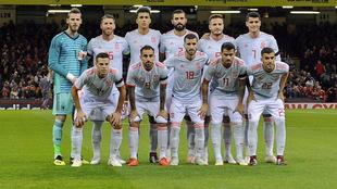 Equipo inicial de España en el pasado encuentro ante Gales