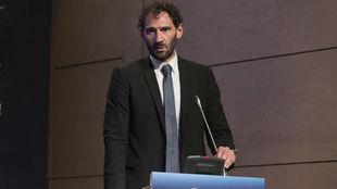 Jorge Garbajosa, presidente de la FEB, en un acto de la selección...