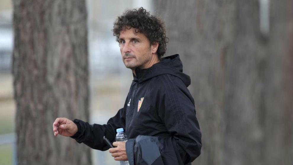 Idiakez durante un entrenamiento con el Zaragoza.
