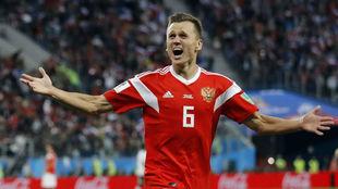 Cheryshev celebra un gol en el Mundial contra Egipto.