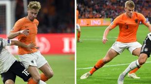 De Jong y De Ligt, en el partido contra Alemania.