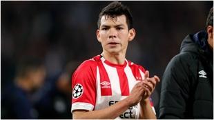 Hirving Lozano, en un partido con el PSV.