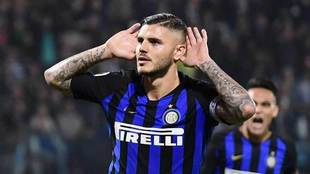 Icardi gestures after scoring the second goal team during the match...