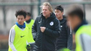 New manager Bernd Schuster of Dalian Yifang FC attends a training...