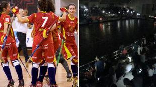 La selección femenina de hockey patines y una imagen del apagón.