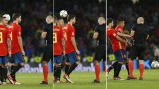 Secuencia del balonazo al árbitro.