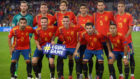 Spain's players pose before the UEFA Nations League football match...