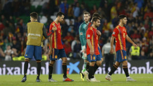 The Spain players, disappointed after the final whistle.