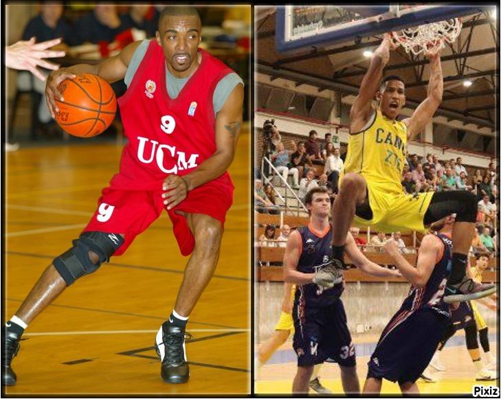 Andre Turner jugando con el Universidad Complutense y Tyson Pérez con...