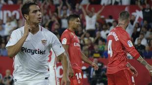 Ben Yedder celebra su gol ante el Real Madrid.