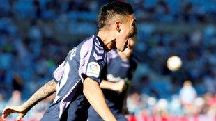Leo Suárez celebrando el gol que marcó ante el Celta.