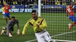 'Cucho' Hernández celebra su gol ante Costa Rica
