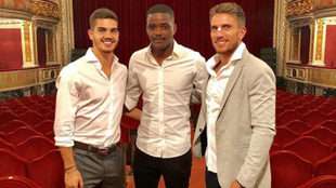 André Gomes, Carvalho y Carriço, este martes en el concierto.