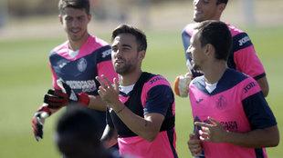 Rober Ibáñez en un entrenamiento con el Getafe.