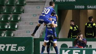 Celebración de uno de los goles en la victoria copera del Córdoba.
