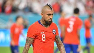Arturo Vidal, en un partido con la selección de Chile.