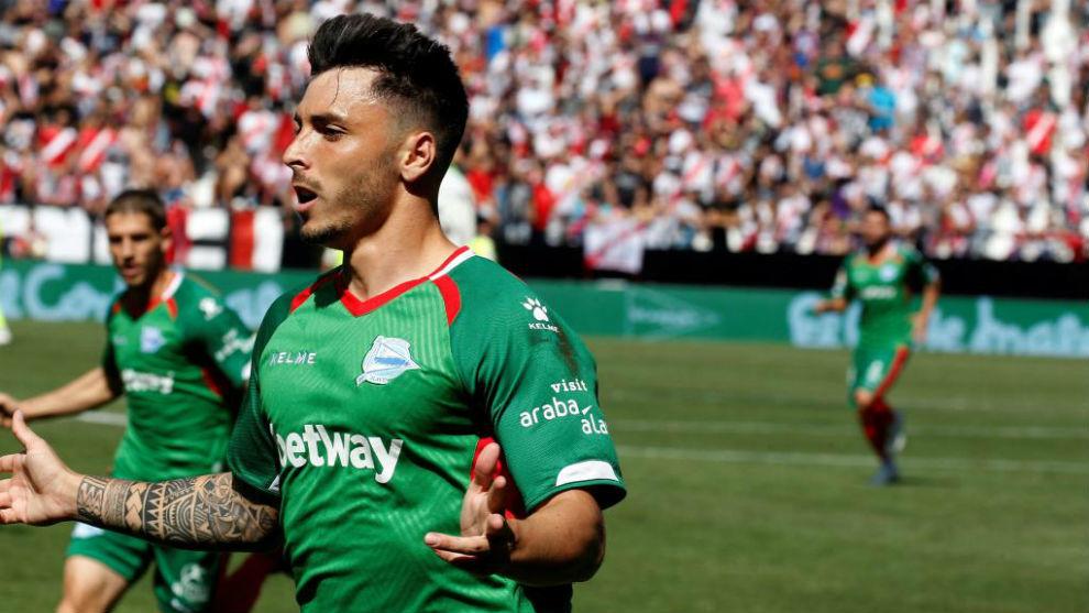 Ximo Navarro, tras marcar al Rayo en Vallecas.