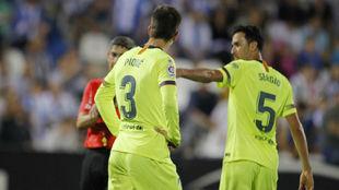 Piqué y Busquets, contra el Leganés.