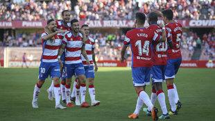 Los jugadores del Granada celebran un gol esta temporada.